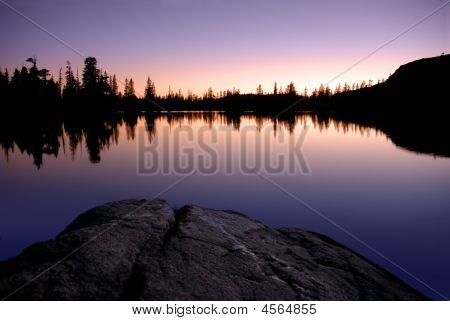 Sierra Lake And Sunset Reflection