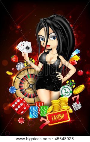 illustration of woman with casino playing card