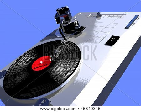 record player with a turning vinyl