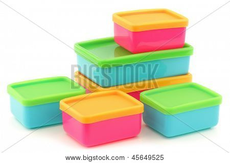 colorful plastic food storage boxes on a white background