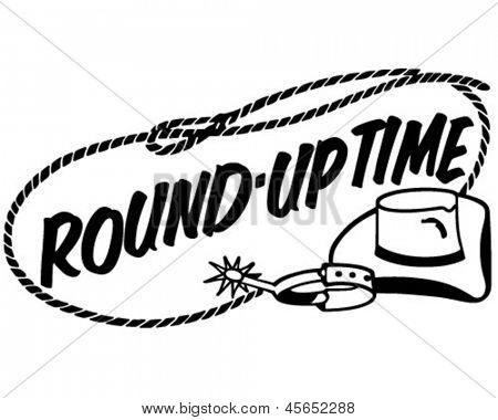 Round-Up Time Banner - Retro ClipArt-Grafik Illustration