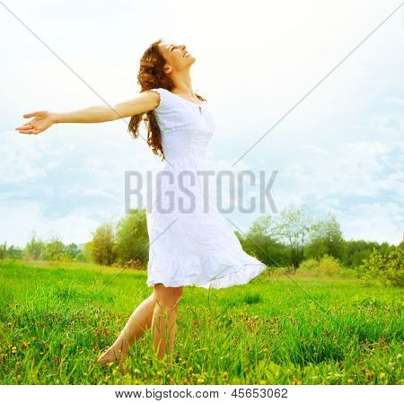 Enjoyment. Free Happy Woman Enjoying Nature. Beauty Girl Outdoor. Freedom concept