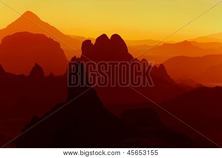 Sunrise in Sahara Desert, Hoggar mountains, Algeria