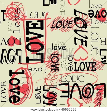 art graffiti vector seamless pattern, background  with love and heart