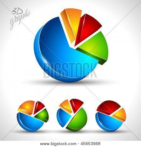 Diagrama de pastel 3D para la visualización de datos relacional o porcentaje. Gráfico 4 diferentes con alto contraste colo