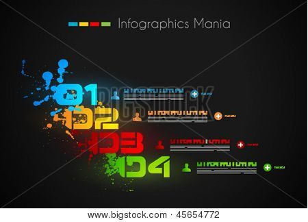 Infographic design template with liquid dropd. Ideal to display information, ranking and statistics with orginal and modern style.
