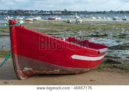 Beautiful little boat  out of water