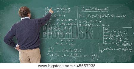 Teacher showing figures on the blackboard