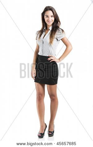 Beautiful and attractive business woman smiling, isolated on white background