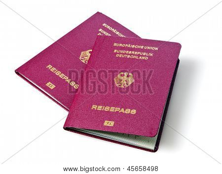 German passports isolated on white