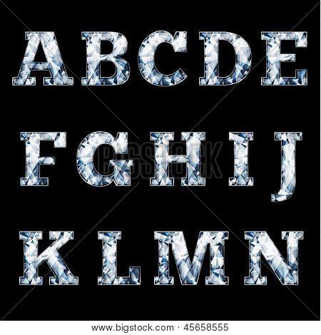 Shiny diamond alphabet letters (uppercase) - eps10