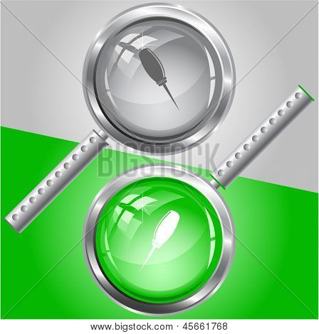Awl. Raster magnifying glass. Vector version is in my portfolio.