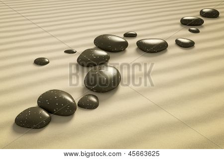 An image of a nice zen background with black stones in the sand
