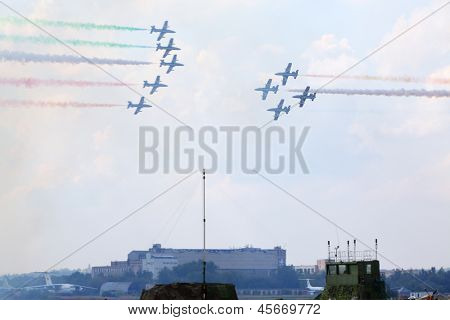 ZHUKOVSKY - AUGUST 12: Military aircrafts from Italy at airshow devoted to 100 anniversary of Russian Air Forces on August 12, 2012 in Zhukovsky, Moscow region, Russia.