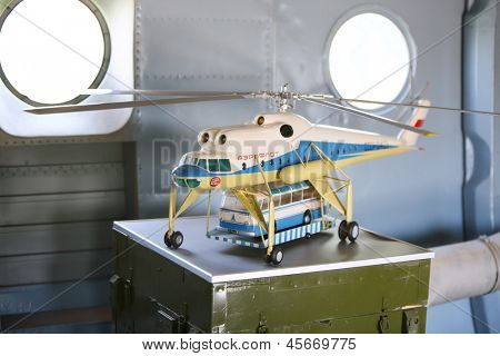 MOSCOW - AUGUST 2: Model of large cargo helicopter Mi-10 in museum of Helicopter Plant named Mil, on August 2, 2012 in Moscow, Russia. Plant was founded general designer Mikhail Mil in 1947.