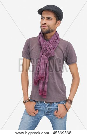 Stylish young man wearing accessories on white background