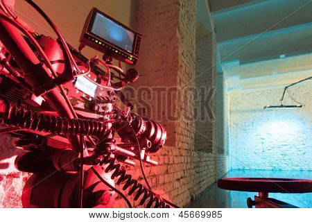 MOSCOW - OCT 24: A red light camera in the studio for shooting video clip Rene in White Studio, on October 24, 2010 in Moscow, Russia.
