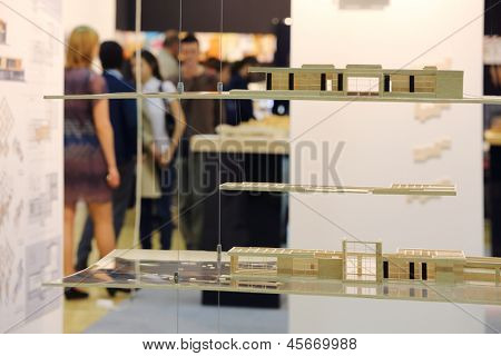 MOSCOW - MAY 23: Architectural models on hanging shelves at International Exhibition of Architecture and Design ARCH MOSCOW, on May 23, 2012 in Moscow, Russia.