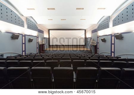 MOSCOW - OCT 20: Empty cinema hall in the 35 mm movie theater in Moscow Home Entrepreneu, view on the screen Designed in black gray and beige colors on October 20, 2010 in Moscow, Russia.