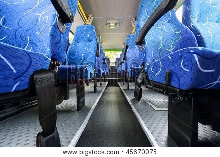 MOSCOW - MAY 15: Seats in saloon of empty city bus at Electrotrance exhibition at VVC, on May 15, 2012 in Moscow, Russia. Electrotrance exhibition at VVC 2012 was attended by 65 companies.