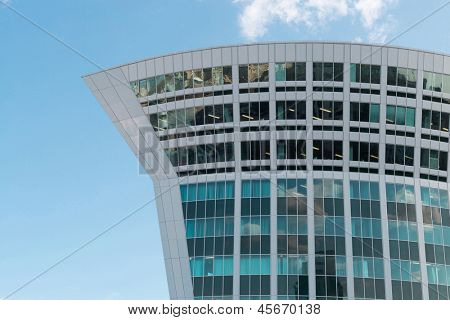MOSCOW - MAY 24: Business Center Legion near Kiev Station stands against blue sky on May 24, 2012 in Moscow, Russia. The Business Center was built in 2008.
