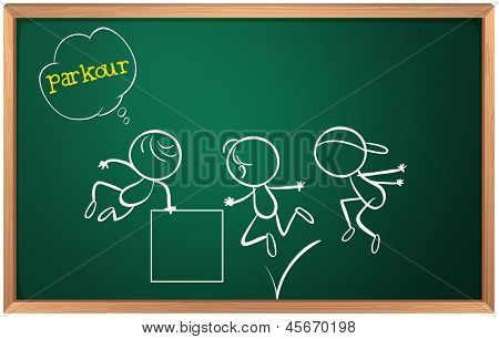 Illustration of a blackboard with kids doing parkour on a white background