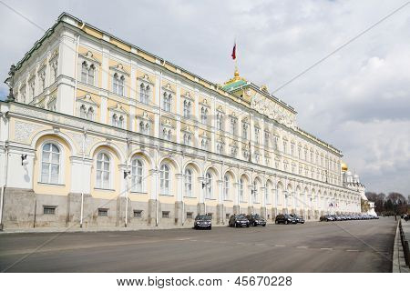 MOSCOW - APRIL 24: Grand Kremlin Palace for State Council on April 24, 2012 in Moscow, Russia. Length of palace is 125 meters, height - 47 meters, total area of approximately 25 000 square meters.