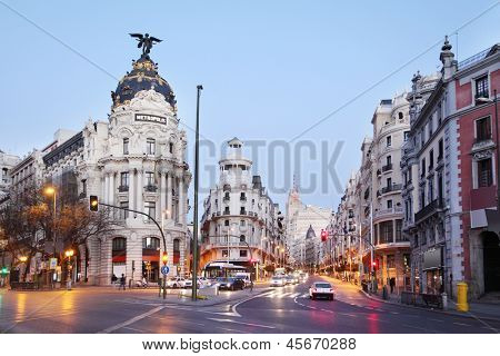 MADRID - MARCH 10: Edifisio Metropolis building on Gran Via street, on March 10 2012 in Madrid, Spain. Since 2012 Spain has 52 million visitors, 3% increase over last year.