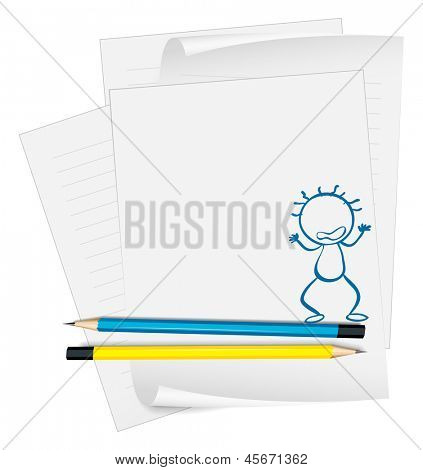Illustration of a paper with a drawing of an angry boy on a white background