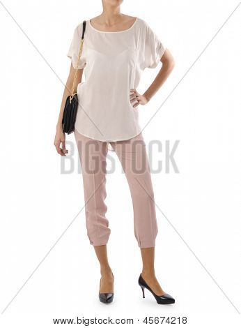 Woman in fashion concept on white