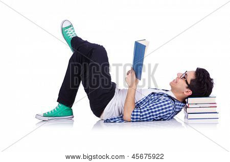 Student with lots of books on white