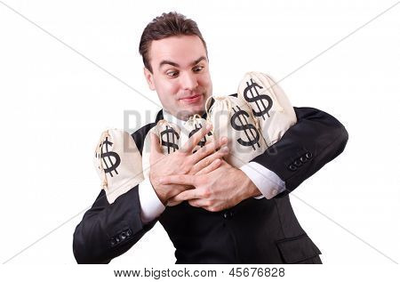 Man with money sacks on white