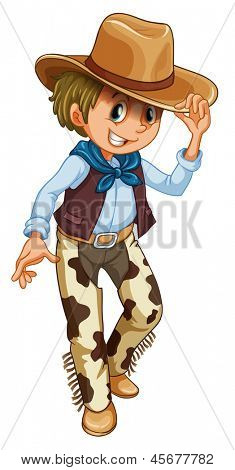 Illustration of a young cowboy on a white background