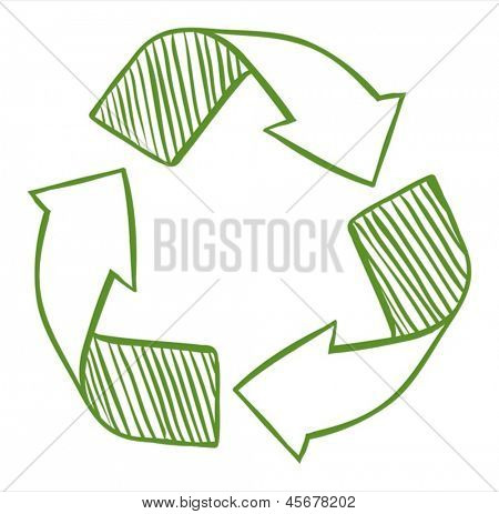 Illustration of the recycle arrows on a white background