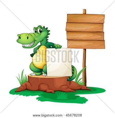 Illustration of a crocodile beside the empty signages on a white background