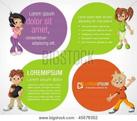 Colorful template for advertising brochure with cartoon children. Teenagers.