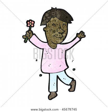 cartoon effeminate man with flower