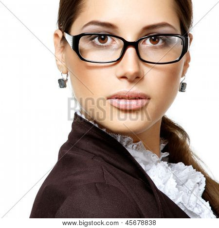 portrait of attractive business woman with glasses, isolated on white, studio