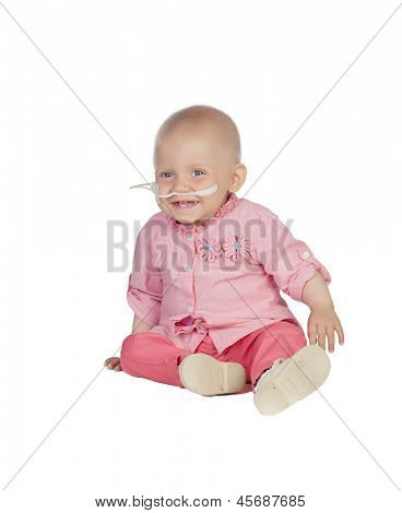 Adorable baby without hair beating the disease isolated on white background