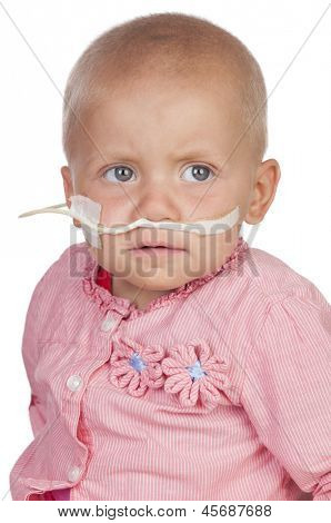Adorable baby beating the disease isolated on white background