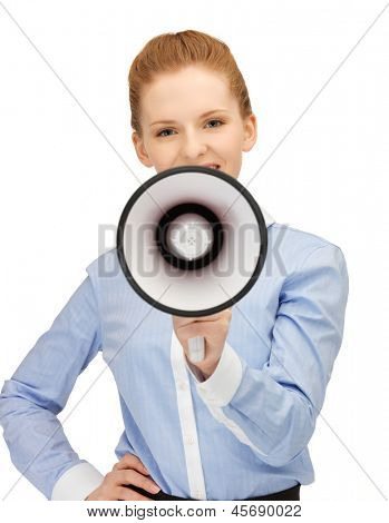 close up of friendly businesswoman with megaphone