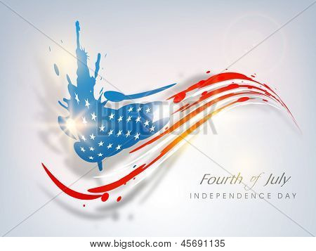 Fourth of July, American Independence Day concept with blue silhouette of Statue of Liberty and flag colors.