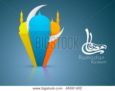 Arabic Islamic calligraphy of text Ramadan Kareem or Ramazan Kareem with 3D colorful Mosque and Masjid with moon on blue background, colorful paper artwork.