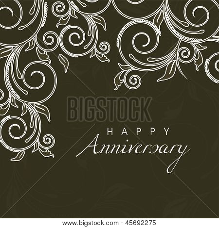 Beautiful floral background with text Happy Anniversary.