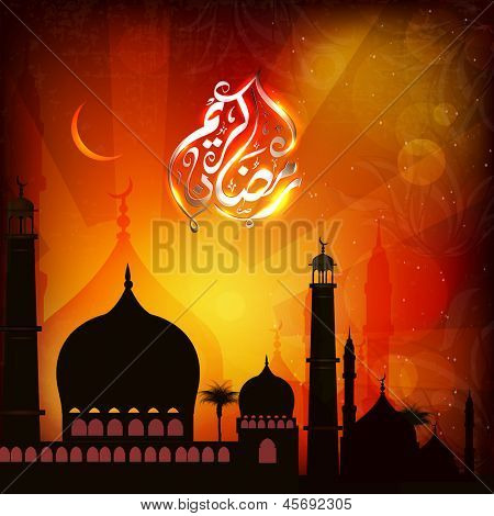 Arabic Islamic Calligraphy of shiny text Ramadan Kareem or Ramazan Kareem with silhouette of Mosque or Masjid in moon light night background.