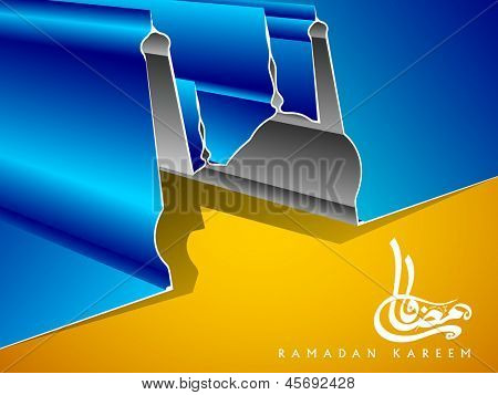Arabic Islamic Calligraphy of text Ramadan Kareem or Ramazan Kareem with 3D design of Mosque or Masjid on blue and yellow background.