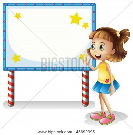 Illustration of a child near the empty board with series lights on a white background