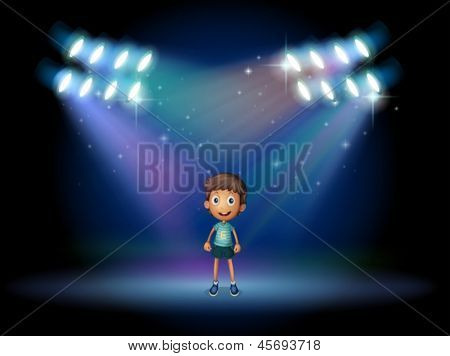 Illustration of a boy smiling at the stage