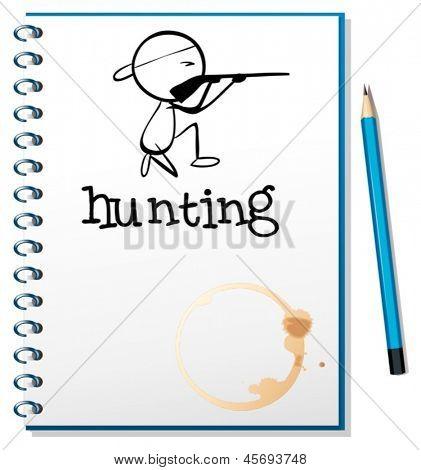 Ilustración de un cuaderno con un hombre que caza en la portada sobre un fondo blanco