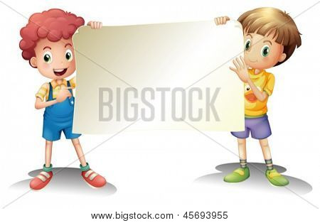 Illustration of the two young boys holding an empty signage on a white background